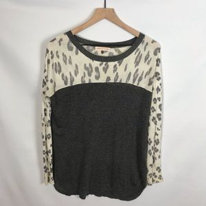 Rebecca Taylor Gray Leopard Print Knit Top Size S